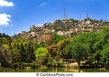 View on the hill of Analamanga in Antananarivo, Madagascar, with the Rova palace on top