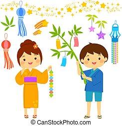 Tanabata cartoon set