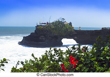 Tanah Lot and Hibiscus Flowers.