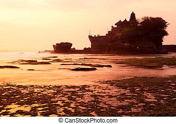 Tanah Lot temple at sunset. Bali island, indonesia