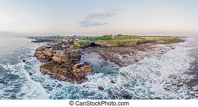 Tanah Lot - Temple in the Ocean. Bali, Indonesia. Photo from the drone Panorama, Banner, Long format