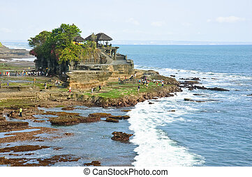 Tanah Lot temple is a holy place to worship the Balinese in Bali, Indonesia