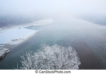 Tanaro river. Piedmont, Northern Italy. - Rime frost on ...