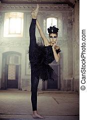 tancerz, balet, łabędź, młody, atak