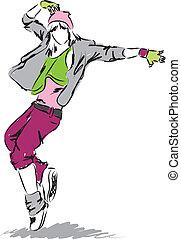 tancerz, biodro-skaczą, ilustracja, taniec