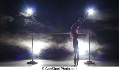 tancerz, dym, barre., balerina
