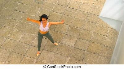 tancerz, piękny, taniec, miasto, samica, 4k
