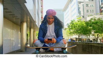 tancerz, ruchomy, skateboard, używając, miasto, samica, 4k, telefon