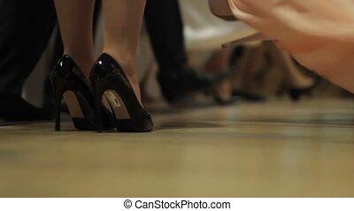 tancerz, samiec, samica, barwny, noga