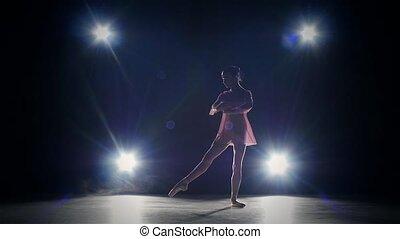 tancerz, silhouette., ruch, dziewczyna, studio., powolny, młody, balerina