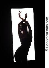 tancerz, ułożyć, sylwetka, przedstawianie, elegancki