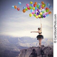 tancerz, z, balony