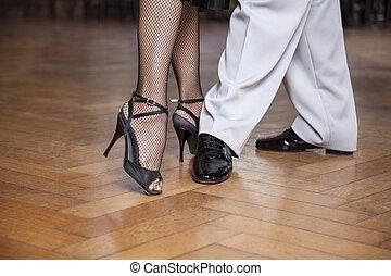 tancerze, sekcja, spełnianie, tango, chód, niski, paralela