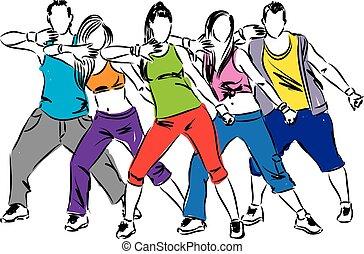 tancerze, zumba, ilustracja
