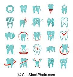 tand, dental omsorg, logo, iconerne, sæt, lejlighed, firmanavnet