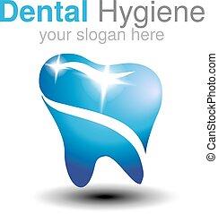 tand hygien, eller, märke, klinik, vektor, design, template...