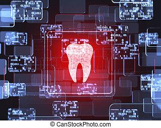 tand, ikon, avskärma