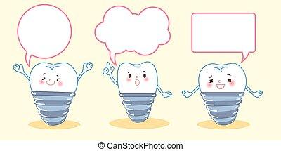 tand, implantaat, met, tekstballonetje