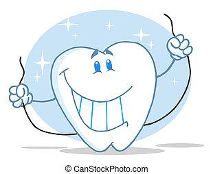 tand, karakter, vasthouden, floss