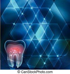 tand, kors sektion, abstrakt, blå, konstruktion