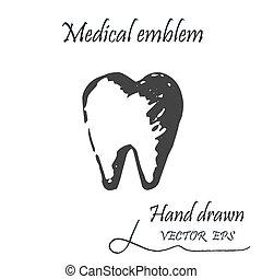 tand, mänsklig, ikon