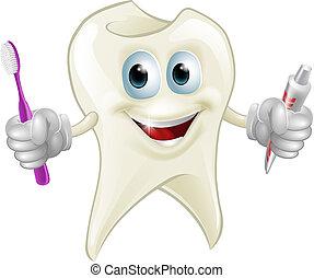 tand, mand, holde, klæbe, og, børste