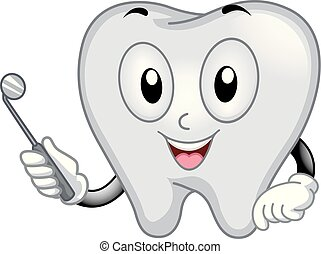tand, mascot, dentalt spejl, illustration