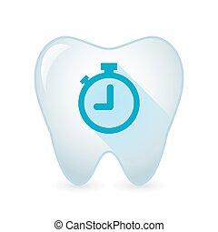 tand, pictogram, met, een, klok