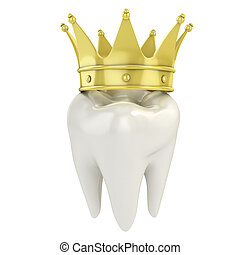 tand, singel, guldgul krön