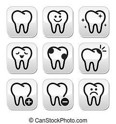 tand, tænder, vektor, knapper, sæt