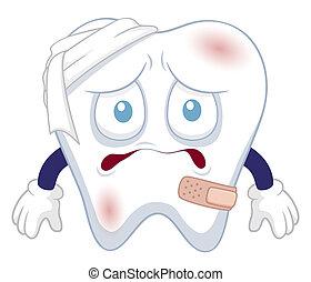 tand, zijn, verwond