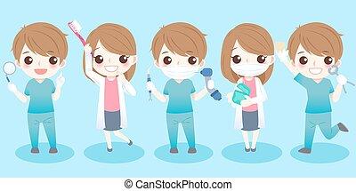 tandarts, gereedschap, nemen, anders