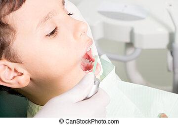tandarts, het onderzoeken, kind's, teeth