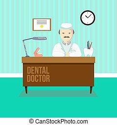 tandarts, in, dentaal, kliniek