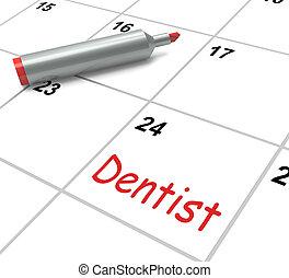 tandarts, kalender, optredens, mondelinge gezondheid, en, tandkundige afspraak
