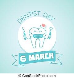 tandarts, maart, dag, 6