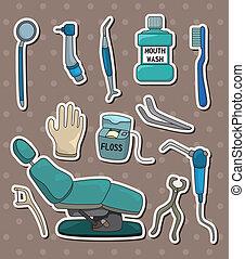 tandarts, stickers, werktuig, spotprent