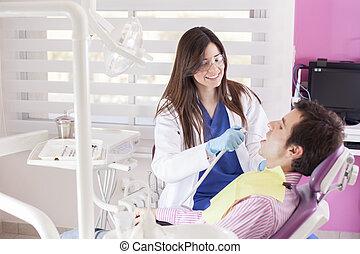 tandarts, werken, vrouwlijk, vrolijke