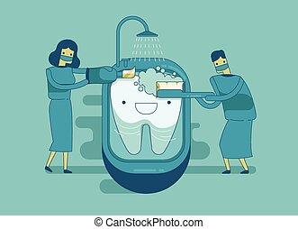 tandarts, zijn, poetsen, de, tand