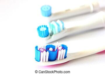 tandborste, huvuden