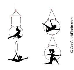 tandem aerial dancers