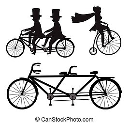 Tandem and Circus Cyclist Vector