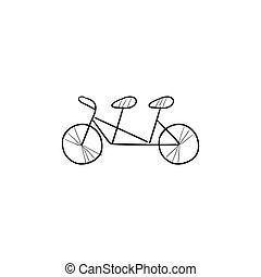tandem bicikli, skicc, icon.