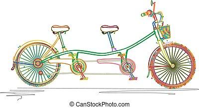 Tandem bicycle in colors
