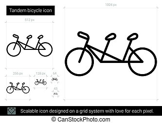Tandem bicycle line icon.
