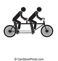 tandem bicycle over white background vector illustration