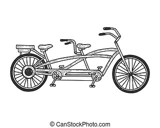 Tandem bicycle sketch engraving vector illustration. Tee shirt apparel print design. Scratch board style imitation. Hand drawn image.