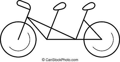 Tandem bicycle vector line icon. - Tandem bicycle vector...