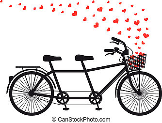 tandem bicycle with flying red hearts, vector illustration for Valentine's day, wedding