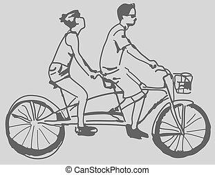 An image of a tandem bike.